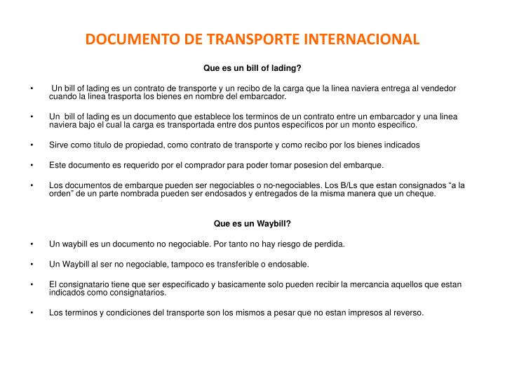 DOCUMENTO DE TRANSPORTE INTERNACIONAL