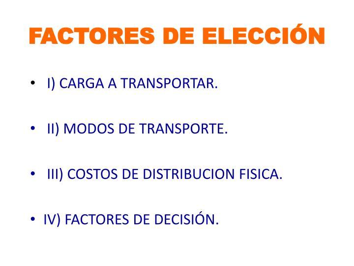 FACTORES DE ELECCIÓN