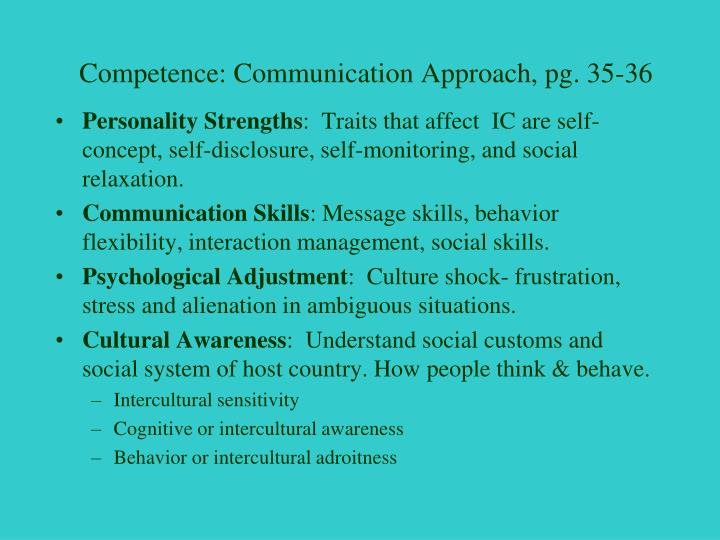 Competence: Communication Approach, pg. 35-36