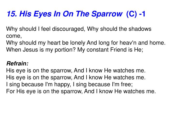 15. His Eyes In On The Sparrow