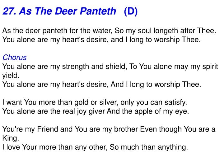 27. As The Deer Panteth