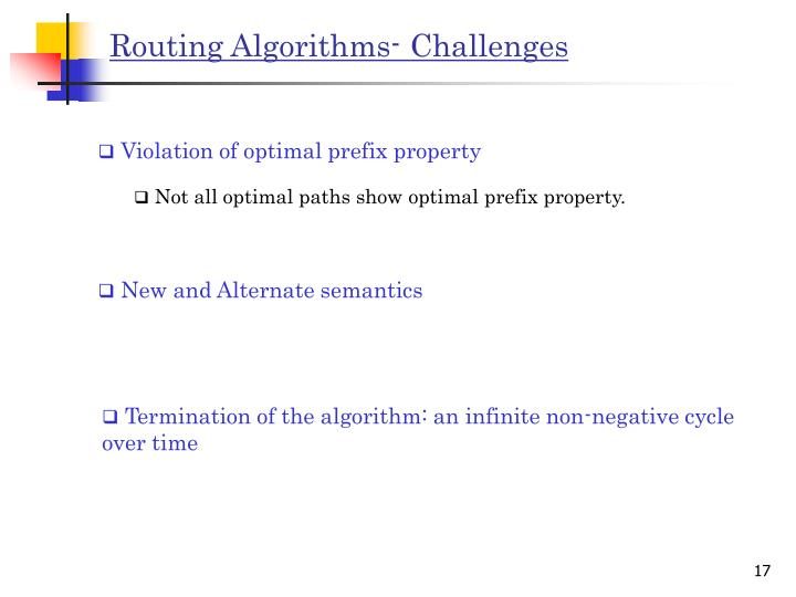 Routing Algorithms- Challenges