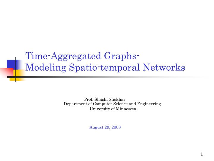 Time aggregated graphs modeling spatio temporal networks