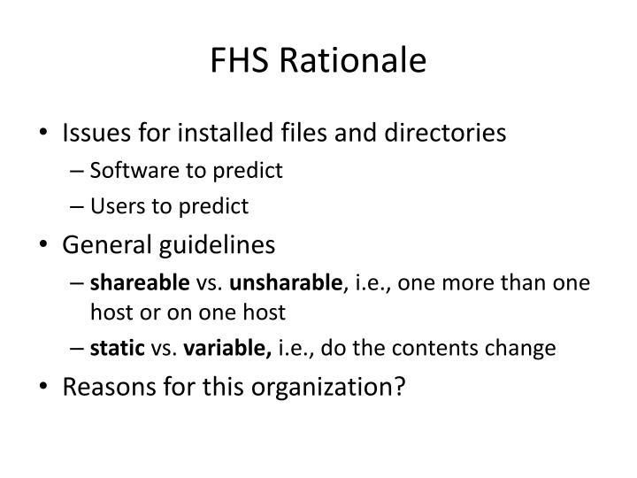 FHS Rationale