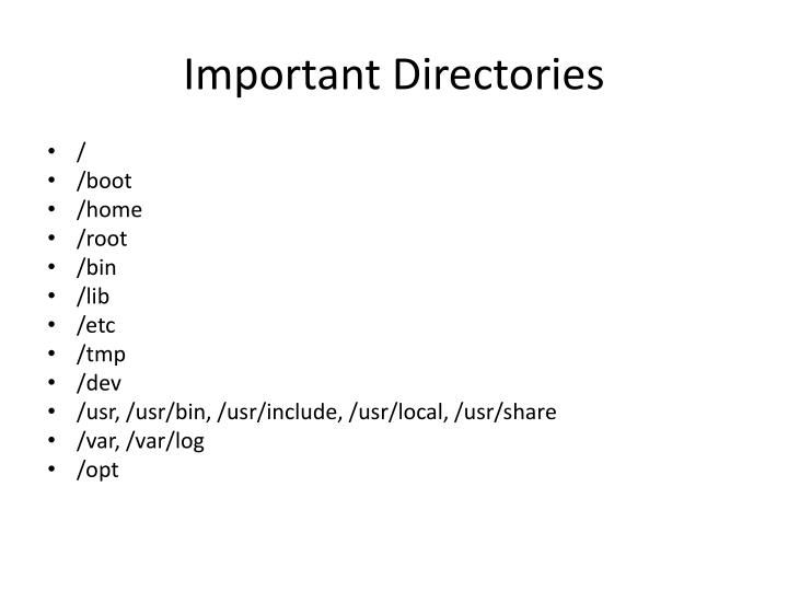 Important Directories