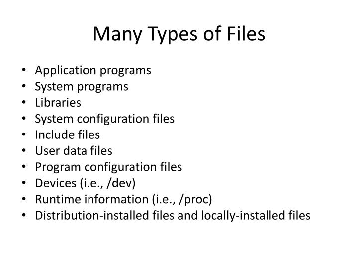 Many Types of Files
