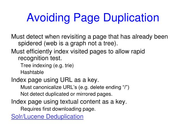 Avoiding Page Duplication