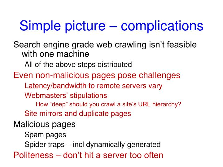 Simple picture – complications