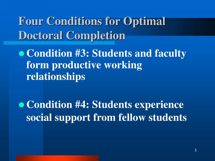 Four Conditions for Optimal Doctoral Completion