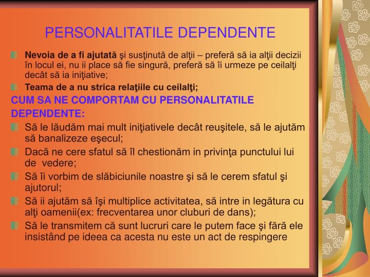 PERSONALITATILE DEPENDENTE