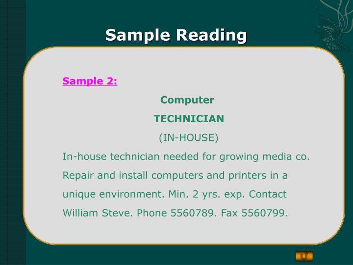 Sample Reading