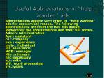 useful abbreviations in help wanted ads