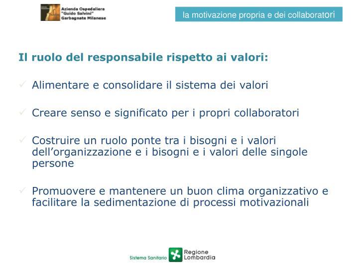Il ruolo del responsabile rispetto ai valori: