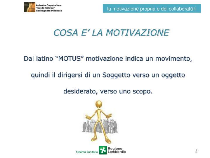 COSA E' LA MOTIVAZIONE