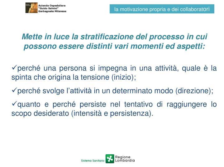 Mette in luce la stratificazione del processo in cui possono essere distinti vari momenti ed aspetti: