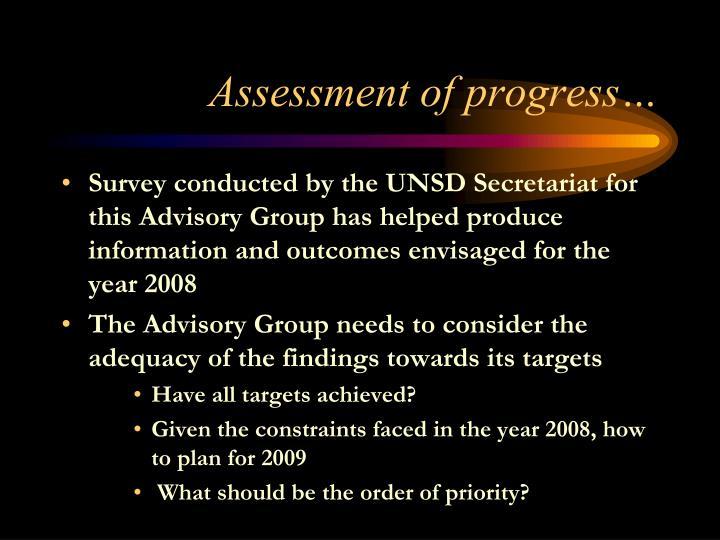 Assessment of progress…