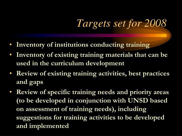 Targets set for 2008