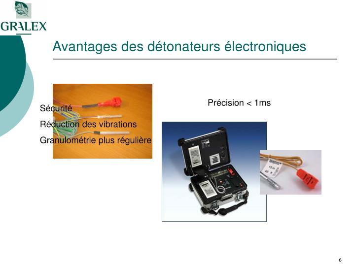 Avantages des détonateurs électroniques