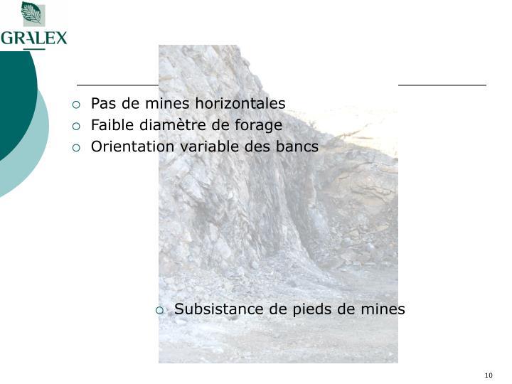 Pas de mines horizontales