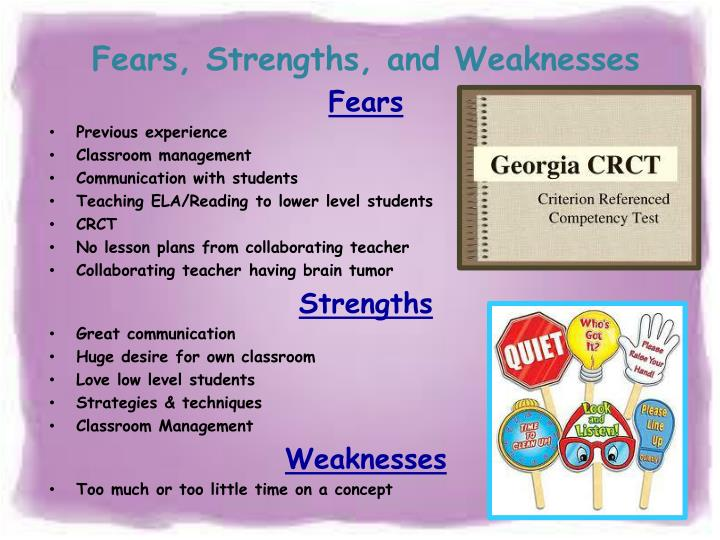 Fears, Strengths, and Weaknesses