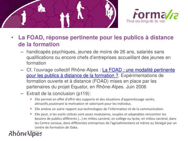 La FOAD, réponse pertinente pour les publics à distance de la formation