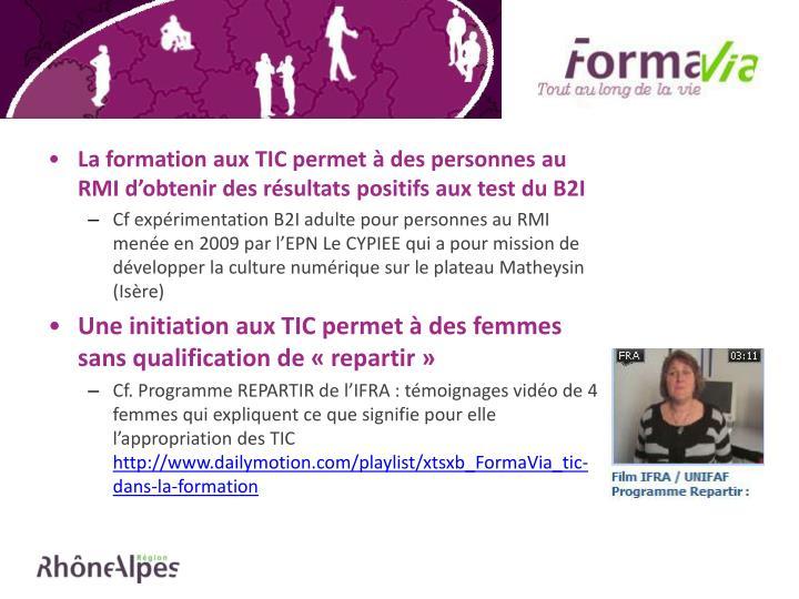 La formation aux TIC permet à des personnes au RMI d'obtenir des résultats positifs aux test du B2I