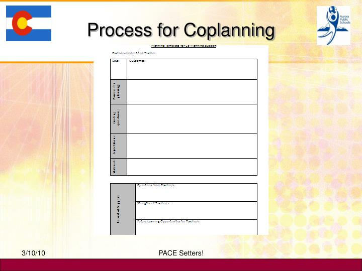 Process for Coplanning