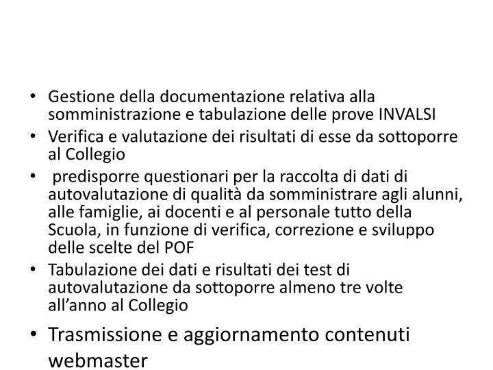Gestione della documentazione relativa alla somministrazione e tabulazione delle prove INVALSI