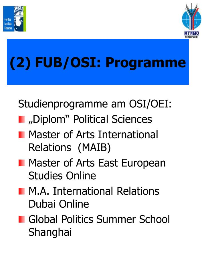 (2) FUB/OSI: Programme