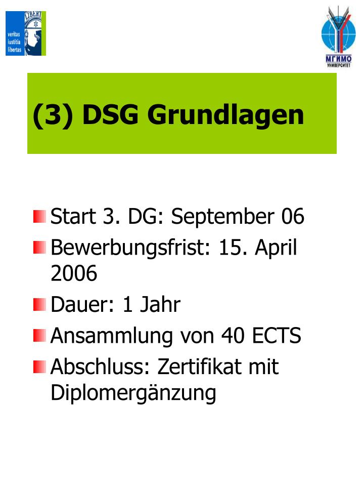 (3) DSG Grundlagen