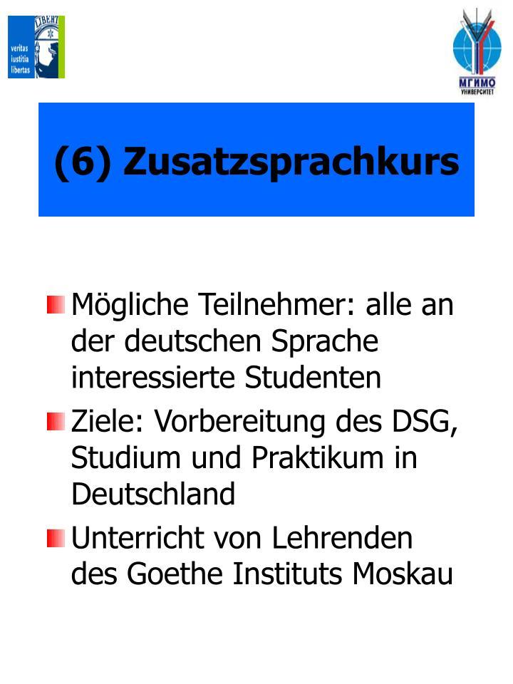 (6) Zusatzsprachkurs