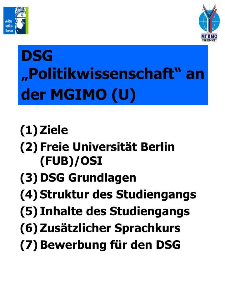 """DSG """"Politikwissenschaft"""" an der MGIMO (U)"""