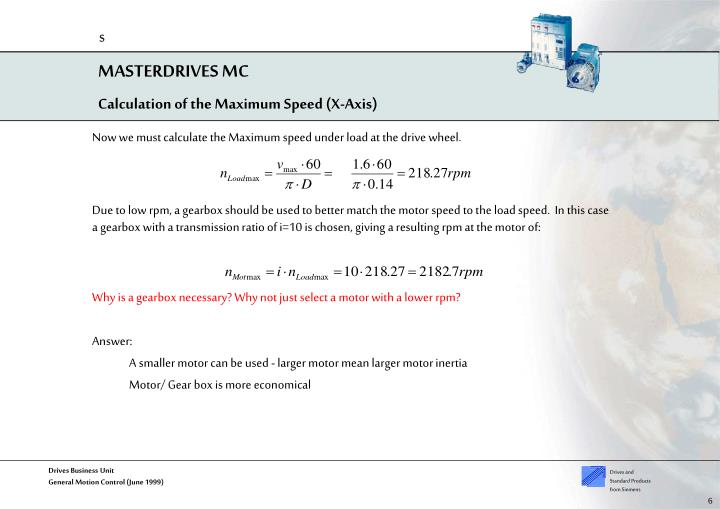 Calculation of the Maximum Speed (X-Axis)