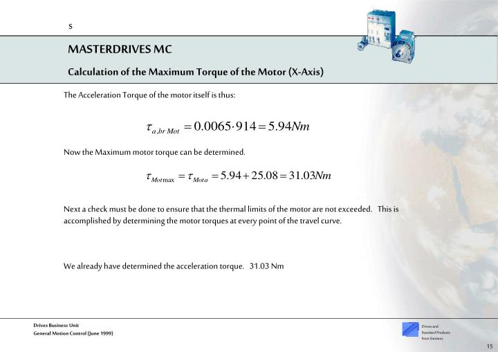 Calculation of the Maximum Torque of the Motor (X-Axis)