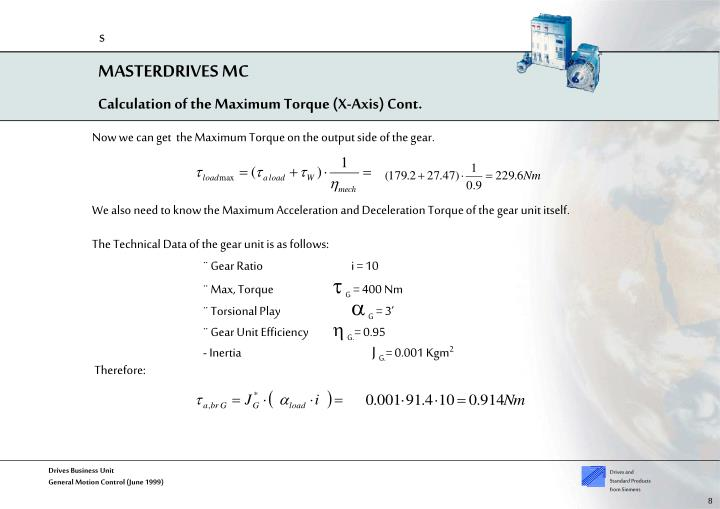 Calculation of the Maximum Torque (X-Axis) Cont.