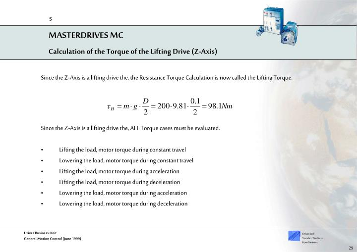Calculation of the Torque of the Lifting Drive (Z-Axis)