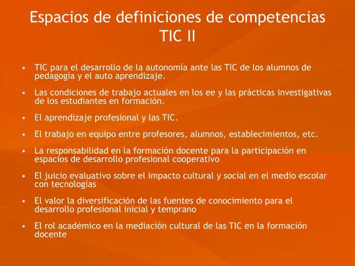 Espacios de definiciones de competencias