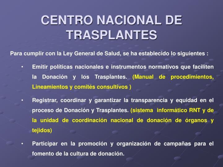 CENTRO NACIONAL DE TRASPLANTES