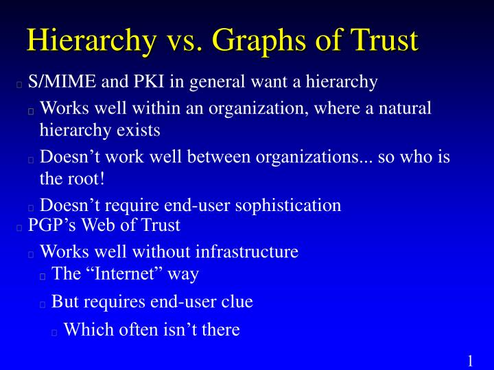 Hierarchy vs. Graphs of Trust