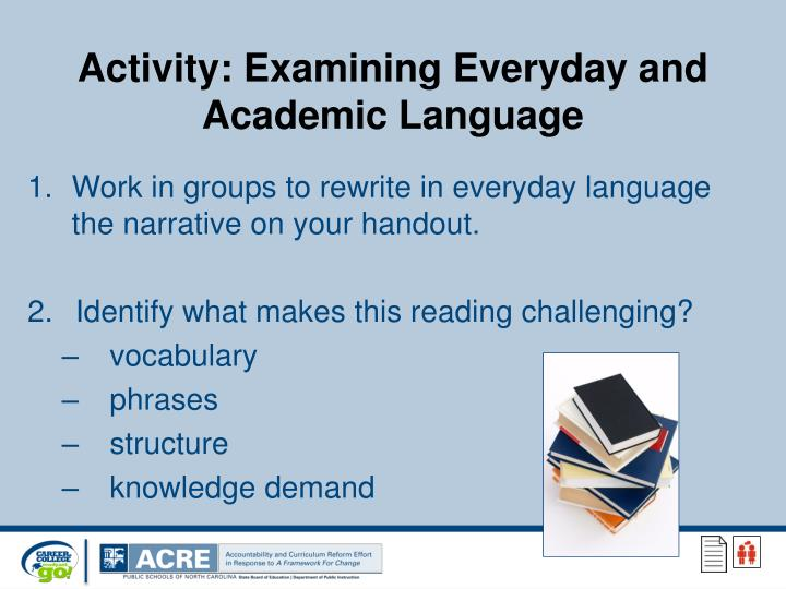 Activity: Examining Everyday and Academic Language