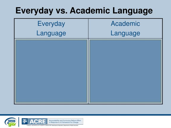 Everyday vs. Academic Language