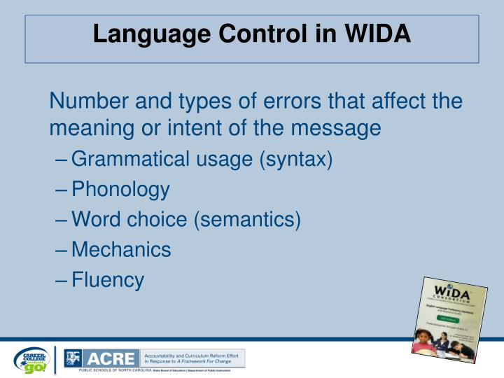 Language Control in WIDA