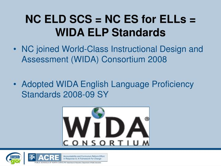NC ELD SCS = NC ES for ELLs =