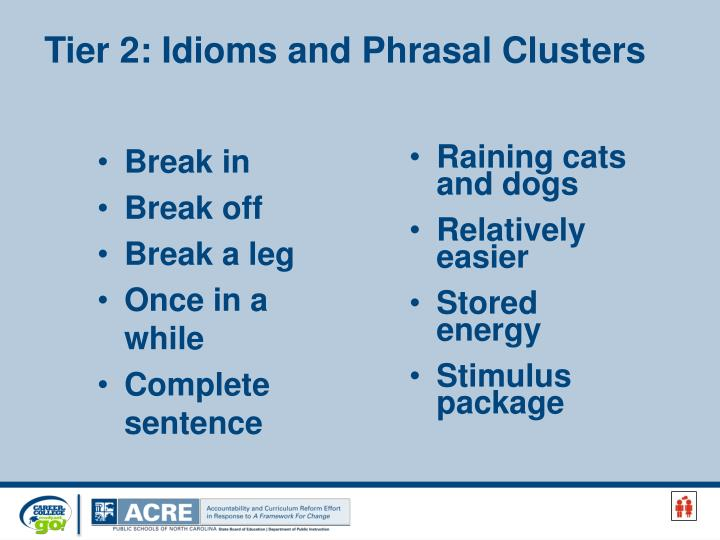 Tier 2: Idioms and Phrasal Clusters