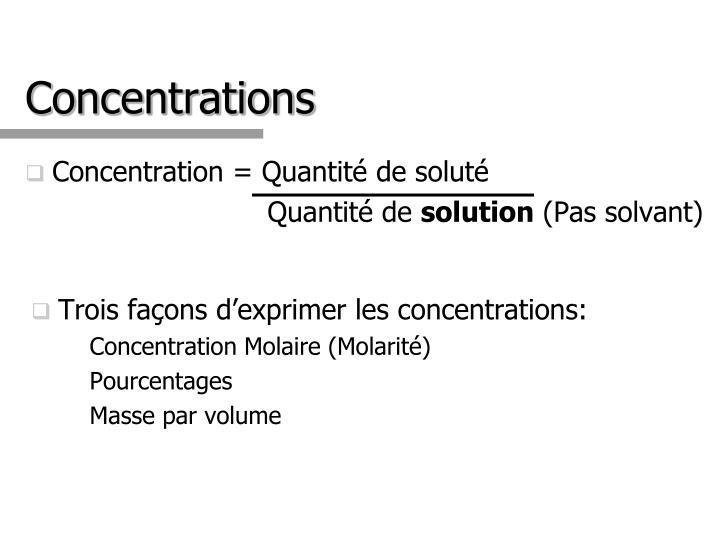 Concentration = Quantité de soluté