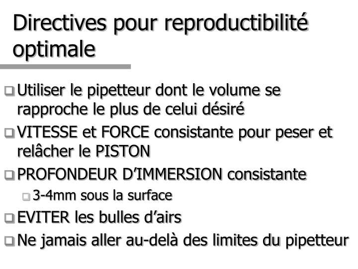 Directives pour reproductibilité optimale