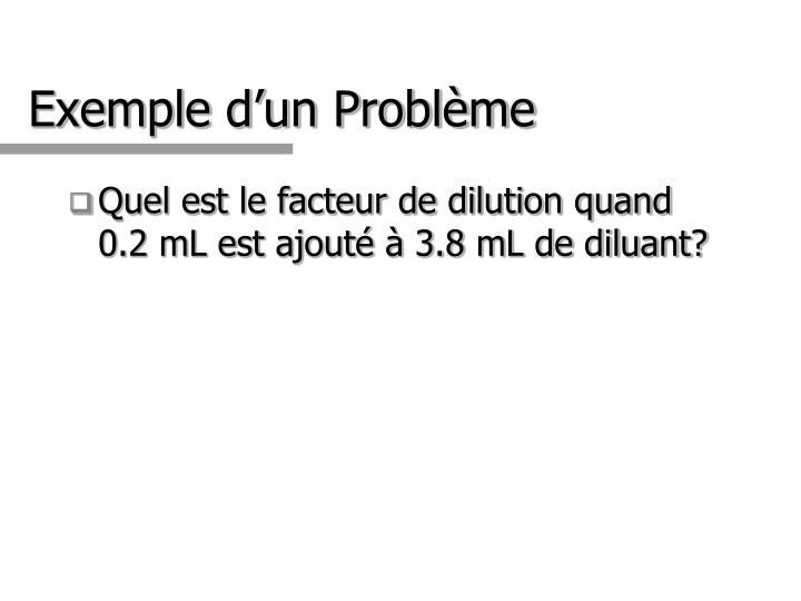 Exemple d'un Problème