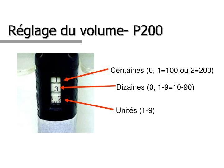 Réglage du volume- P200