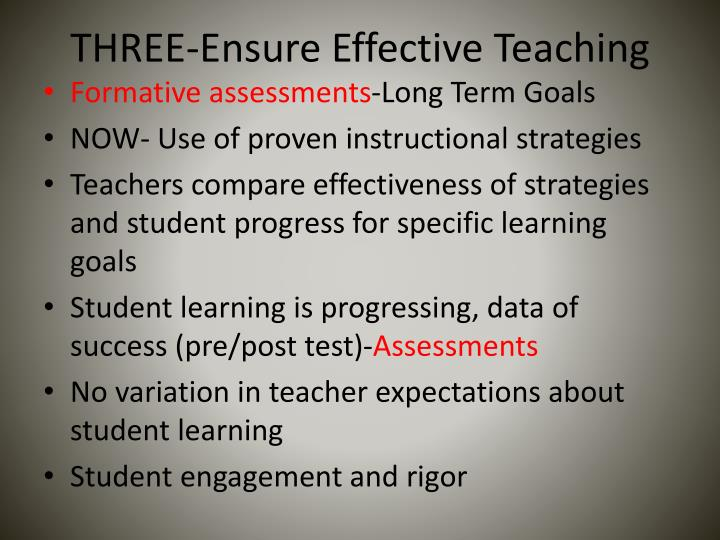 THREE-Ensure Effective Teaching
