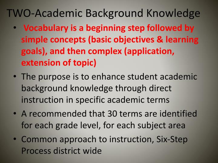 TWO-Academic Background Knowledge